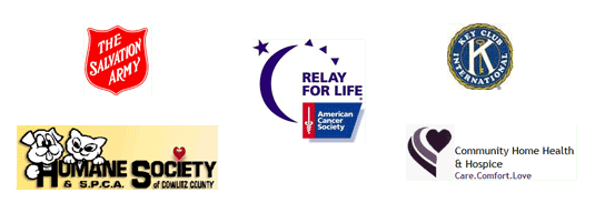 Salvation Army, Humane Society, Relay for Life, Key Club, Hospice